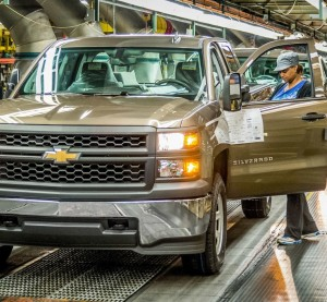 A Chevrolet Silverado is inspected May 26, 2015, at the General Motors Fort Wayne, Ind., Assembly Plant. (Shane Pequignot for General Motors/© General Motors)