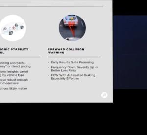 Progressive CFO John Sauerland presented Progressive's stability control and collision warning research to investors during a May 14 webinar, shown here in a screenshot. (Screenshot from www.Progressive.com)