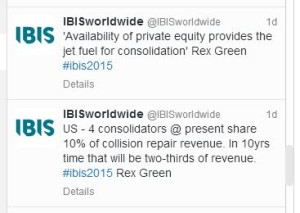 Featured image: Tweets from IBIS Worldwide feature quotes from Rex Green of BB&T on consolidation. (Screenshot of feed from www.twitter.com/ibisworldwide on Tweetdeck)