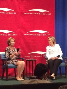 Trident Technical College President Mary Thornley, left, and former Secretary of State Hillary Clinton, a Democratic presidential candidate, appear at an event at the school in North Charleston, S.C., on June 17, 2015. (Lisa Jeffries/Trident Technical College Foundation)