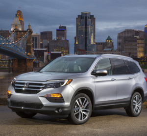 The 2016 Honda Pilot Elite poses. The 2016 Honda Pilot generation weighs nearly 300 pounds less than the last version. (Provided by Honda)