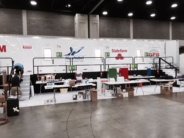 Refinishing setup at Skills USA 2015. (Kye Yeung/Society of Collision Repair Specialists)