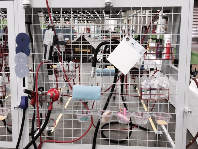 Plastic repair setup at Skills USA 2015. (Kye Yeung/Society of Collision Repair Specialists)