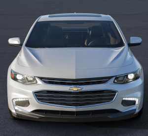 The 2016 Chevrolet Malibu weighs nearly 300 pounds less, but its wheelbase is nearly 4 inches wider. (Copyright General Motors)