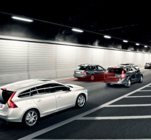 Data from two insurers found that Volvo's City Safety auto-braking technology, indicated in this image, cut claims by 28 percent in Sweden since 2008, the automaker boasted earlier this month. (Provided by Volvo)