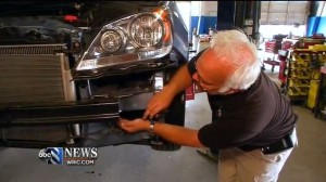 Ben Gibson of Harrison Body Works indicates what he said was a weak weld on a Honda Odyssey in this screenshot from WRIC video. (Screenshot from www.wric.com video)