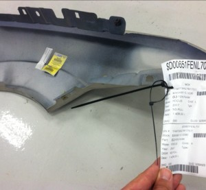 A recycled left fender received from LKQ for a 2006 Ford Focus was actually a Keystone aftermarket part -- still bearing the CAPA certification sticker. (Provided by Andy Dingman, SCRS)