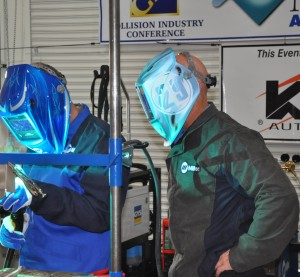 Welding technicians were given a pop quiz on welding two pieces of 1 mm aluminum during an event June 4 at Marina Auto Body. (Toby Chess/Provided to Repairer Driven News)