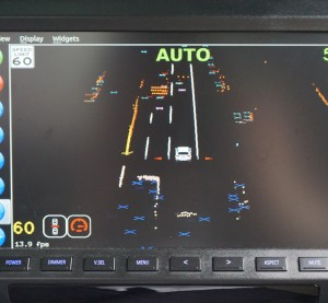 "A photo displays an indication of what a Delphi self-driving Audi ""sees"" on a highway. (Provided by Delphi)"