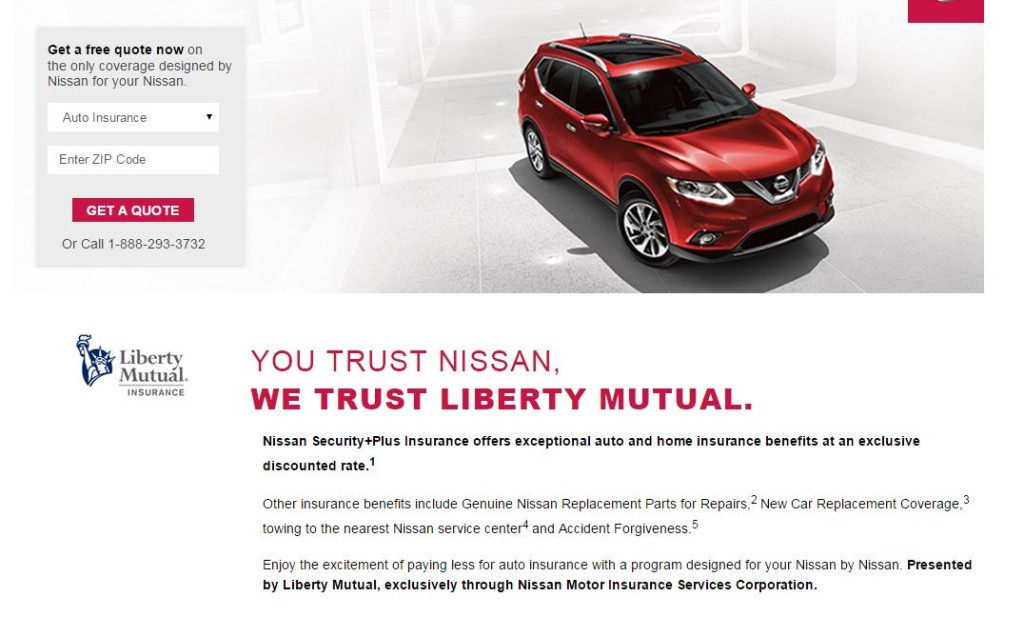 "The Nissan Owner's Portal redirects to a Liberty Mutual webpage describing the ""Nissan Security+Plus Insurance"" program which provides ""exceptional auto and home insurance benefits at an exclusive discounted rate"" through the insurer and the Nissan Motor Insurance Services Corporation. (Screenshot from welcome.libertymutual.com/nissan)"