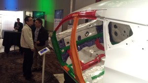 High-strength (green) and ultra-high-strength steels (orange, red) on the 2015 Nissan Murano's body-in-white can be seen. (John Huetter/Repairer Driven News)