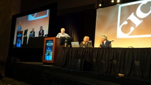 John Bosin, left, Amjad Farah and Chris Northrup participate in a parts procurement panel at the July Collision Industry Conference on July 21, 2015. (John Huetter/Repairer Driven News)