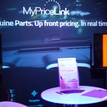 General Motors' MyPriceLink display at NACE on July 24, 2015. (John Huetter/Repairer Driven News)