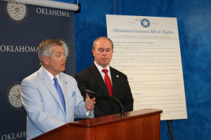 Republican Oklahoma Insurance Commissioner John Doak speaks at a news conference about an Oklahoma Consumer Bill of Rights in 2013. (Provided by Oklahoma Insurance Department)