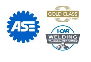 Logos from ASE and I-CAR certification or recognition programs. (Provided by Automotive Service Excellence, I-CAR)