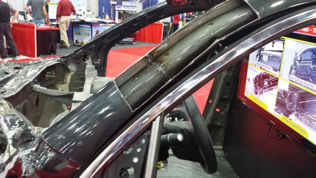 This improper butt weld to the A-pillar portion of a 2014 Acura MDX door ring was done by Honda to mimic similar improper work done by a repairer on the passenger's side. (John Huetter/Repairer Driven News)