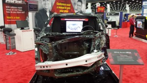 Honda is showing off another badly repaired vehicle, this time to demonstrate why auto body shops have no business sectioning its ultra-high-strength door ring. (John Huetter/Repairer Driven News)