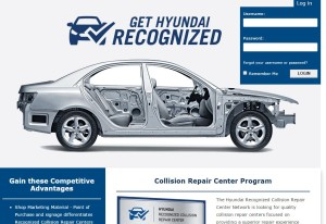 "Hyundai announced Tuesday it would recommend a ""Recognized Collision Repair Center"" network to customers, the latest automaker to indicate which body shops it feels are truly qualified to fix its vehicles correctly. This screenshot comes from Hyundai's website advising shops how to get that designation. (Screenshot from www.gethyundairecognized.com)"