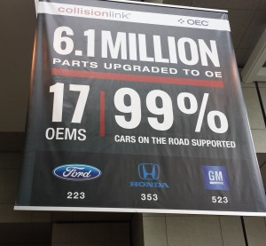 A banner advertising OEConnection is displayed in Detroit at the July 2015 NACE|CARS. (John Huetter/Repairer Driven News)