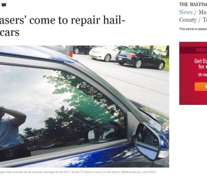 """A Monday Baltimore Sun/Towson times article documents the life of """"storm chasers"""" who seek temporary work from auto body shops overwhelmed with catastrophic claims. Rather than the loathed """"I can pound that out for $25"""" parking lot guy, these are qualified technicians who choose a life on the road instead of in a shop, according to the piece. (Screenshot from www.baltimoresun.com)"""