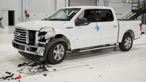 """The IIHS concluded that the F-150 crew both had """"more extensive damage"""" and higher repair prices in both 10 mph front and rear collisions with a steel 2014 F-150, it announced in a Status Report posted Thursday. (Provided by Insurance Institute of Highway Safety Status Report)"""