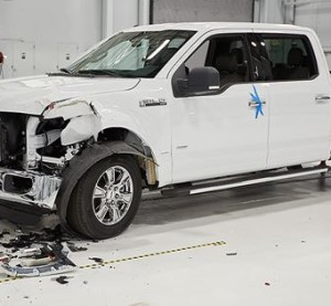 "The IIHS concluded that the F-150 crew both had ""more extensive damage"" and higher repair prices in both 10 mph front and rear collisions with a steel 2014 F-150, it announced in a Status Report posted Thursday. (Provided by Insurance Institute of Highway Safety Status Report)"