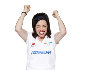 """Progressive's Flo reacts in this promotional image released in 2012 with a news release announcing she made the Madison Avenue Advertising """"Walk of Fame."""" (Provided by Progressive via Business Wire, file)"""