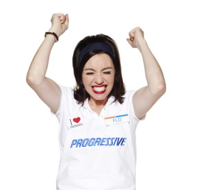 "Progressive's Flo reacts in this promotional image released in 2012 with a news release announcing she made the Madison Avenue Advertising ""Walk of Fame."" (Provided by Progressive via Business Wire, file)"
