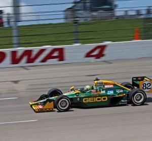 A GEICO-sponsored car races in 2011 in the Iowa Corn 250. (HodagMedia/iStock Editorial/Thinkstock file)