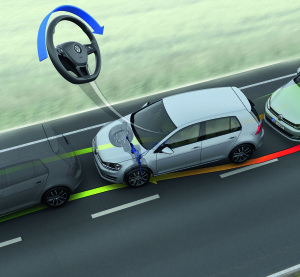 Volkswagen's lane departure prevention technology is shown in this rendering. (Provided by Volkswagen)
