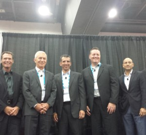 Members of the MyPriceLink panel and moderator Dan Risley, President of the Automotive Service Association, pose Aug. 24, 2015, at NACE. (John Huetter/Repairer Driven News)