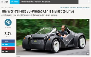 Recent reports in Popular Mechanics and Wards Auto offer some glimpses of the future of automotive 3-D printing, a likely carbon-fiber-intensive technology with the potential to alter collision repair. (Screenshot from www.popularmechanics.com)