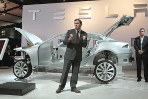 Tesla's Vice President of vehicle engineering Peter Rawlinson introduces features of the Tesla Model S sedan during the press preview of the North American International Auto Show at the Cobo Center on Jan. 10, 2011, in Detroit. (Scott Olson/Getty Images News/Thinkstock file)