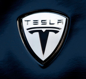 The Tesla electric car logo is shown during a display of alternative energy vehicles on Capitol Hill June 12, 2008, in Washington, D.C. (Win McNamee/Getty Images News/Thinkstock file)
