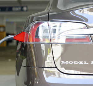 A Tesla Motors Model S charges at a public parking garage March 11, 2013, in San Jose, California. (ChenRobert/iStock Editorial/Thinkstock file)