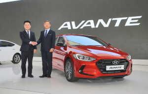 Hyundai Executive Vice President Jin Kwak, left, poses with Vice Chairman Woong-Chul Yang on Sept. 9, 2015, at the unveiling of the 2016 Hyundai Elantra in South Korea. The car is known there as the Avante. (Provided by Hyundai)