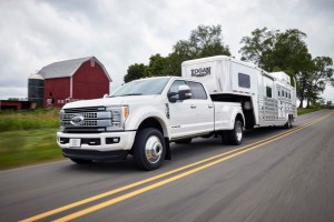 A Platinum 2017 Ford Super Duty F-450 is shown. The next-generation version of the truck is aluminum and high-strength steel. (Provided by Ford)