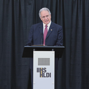 National Highway Traffic Safety Administration head Mark Rosekind speaks Sept. 11, 2015, at the expanded Insurance Institute for Highway Safety Vehicle Research Center. (Provided by IIHS)