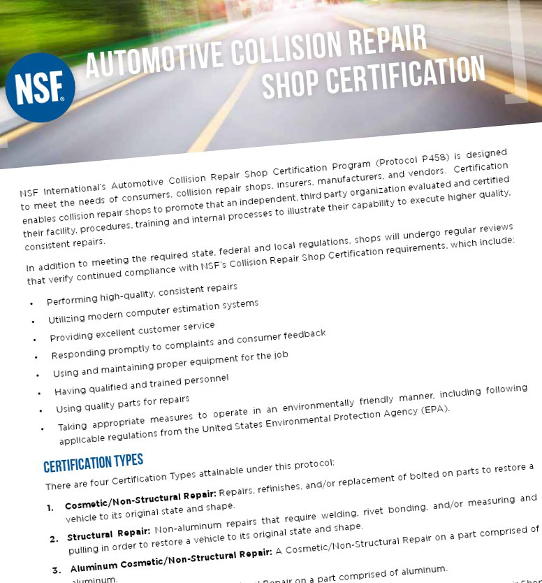 Nsf To Surprise Audit Auto Body Shops Check Repair Work Under New
