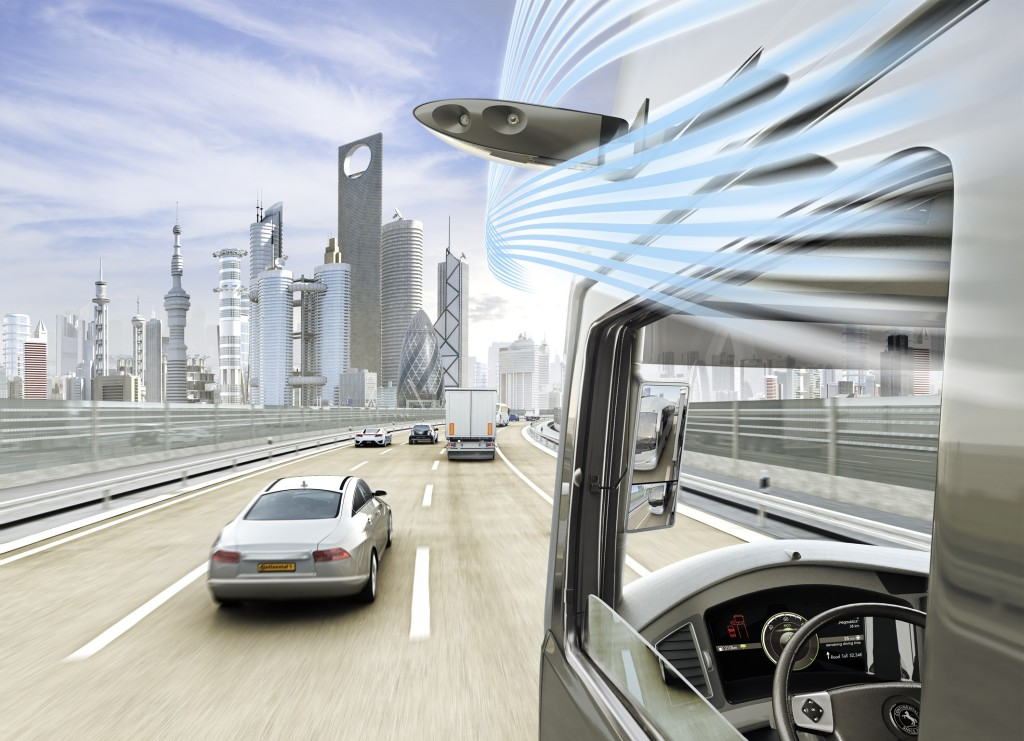 """It also mentioned its similar ProViuMirror technology as a means of replacing the Class II and IV mirrors in larger vehicles, such as trucks or RVs. If you've ever driven a U-Haul with that """"did I read the mirror right?"""" fear every time you changed lanes, you'll understand the appeal. Continental also said eliminating the large rectangular mirrors could deliver a better frontal view and improve the gas mileage on such guzzlers. (Provided by Continental)"""
