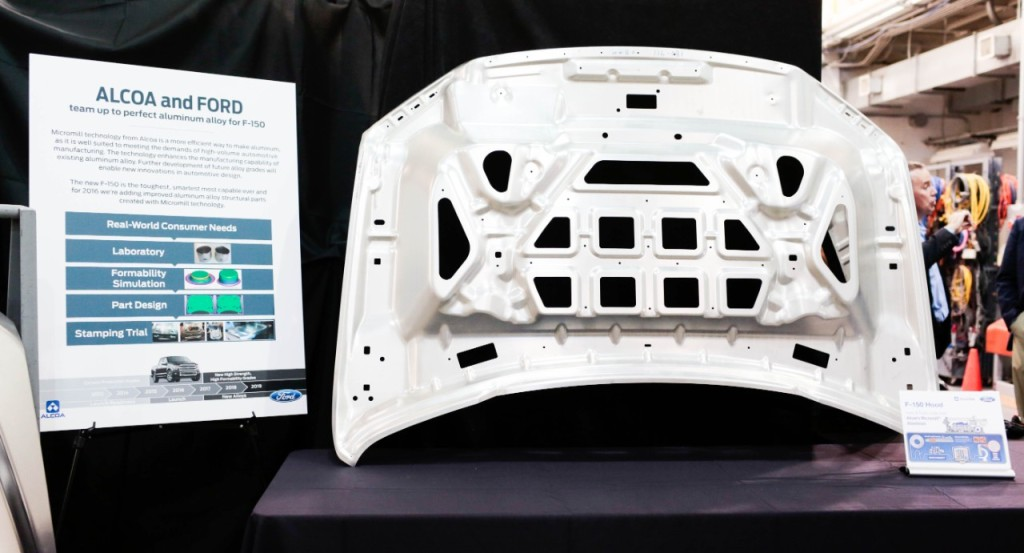"""Alcoa said in December 2014 that Micromill automotive alloys -- an example of which is seen here -- are as strong as high-strength steel but as malleable as mild steel. They're also 40 percent more formable and 30 percent stronger than traditional aluminum, the metals giant said in a December news release, """"enabling the production of automotive sheet that is thinner and even lighter than previous generations."""" (Provided by Ford)"""