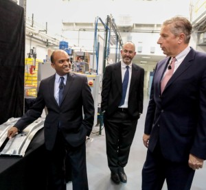 """Ford announced Monday it will become the first automaker to use Alcoa's Micromill aluminum by incorporating the strong but """"design-friendly"""" alloy into the 2016 F-150. Pictured here are Ford Vice President and global product development chief technical officer Raj Nair, left, and Alcoa Chairman and CEO Klaus Kleinfeld. (Provided by Ford)"""