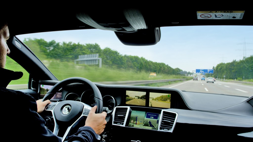 """Continental said its mirrorless automotive technology would remove the rear-view mirror as well by installing three cameras and displaying the rear and sides of the car on two organic LED screens on the dash. The technology uses """"image stitching"""" to show the views from three mirrors on just two screens, according to Continental. (Provided by Continental)"""