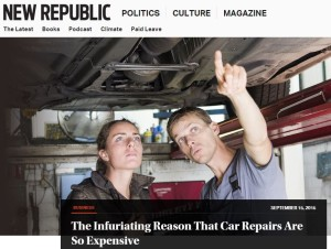 """David Dayen's PARTS Act analysis """"The Infuriating Reason That Car Repairs Are So Expensive"""" appeared Tuesday on the influential liberal magazine New Republic's website. (Screenshot from www.newrepublic.com)"""