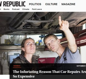 "David Dayen's PARTS Act analysis ""The Infuriating Reason That Car Repairs Are So Expensive"" appeared Tuesday on the influential liberal magazine New Republic's website. (Screenshot from www.newrepublic.com)"