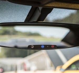 An OnStar-equipped rearview mirror is shown. (Provided by General Motors/© General Motors)