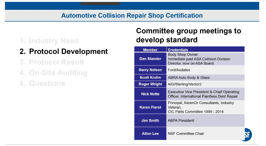 This committee developed the protocol for NSF International's new collision certification program. (Provided by NSF International)