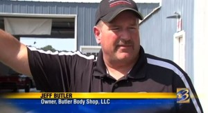 A video report posted Sept. 23, 2015, by WWMT features Jeff Butler of Coldwater, Mich.-based Butler Body Shop. (Screenshot of www.WWMT.com video)