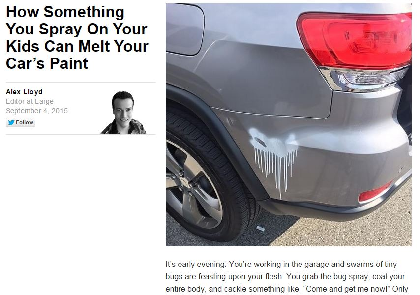 Update: Yahoo Autos fixes post about bug spray ruining car