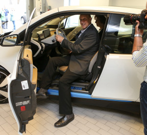 The first U.S. BMW i3 went to Tufts University professor Charles Rabie on May 2, 2014. (Provided by BMW)